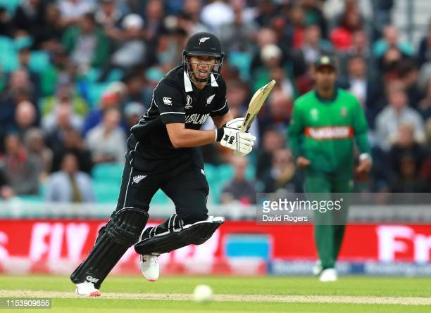 Ross Taylor of New Zealand drives the ball to the boundary during the Group Stage match of the ICC Cricket World Cup 2019 between Bangladesh and New...