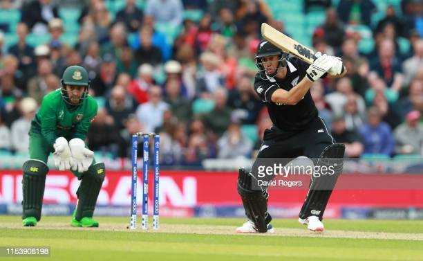 Ross Taylor of New Zealand drives the ball to the boundry during the Group Stage match of the ICC Cricket World Cup 2019 between Bangladesh and New...