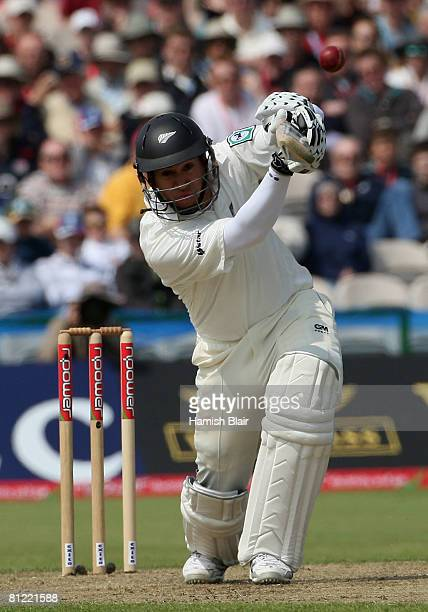 Ross Taylor of New Zealand drives though mid off for four during the second day of the 2nd npower Test Match between England and New Zealand at Old...