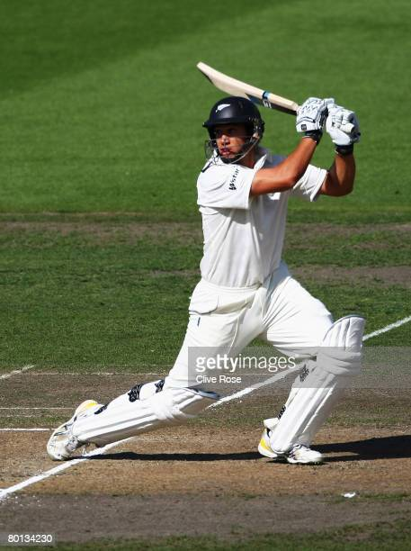 Ross Taylor of New Zealand hits a boundary during day two of the First Test match between New Zealand and England at Seddon Park on March 6 2008 in...