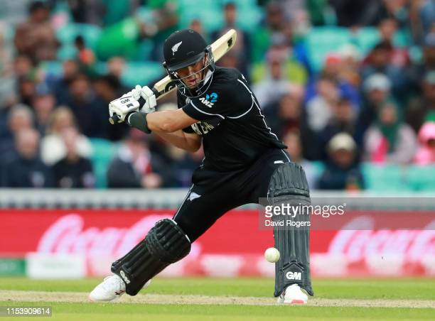 Ross Taylor of New Zealand hits the ball to the boundary during the Group Stage match of the ICC Cricket World Cup 2019 between Bangladesh and New...