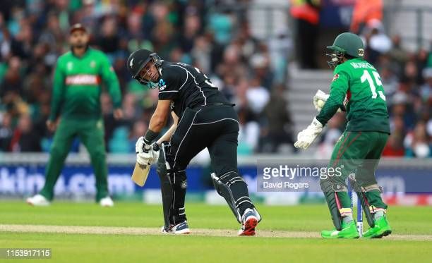 Ross Taylor of New Zealand is caught behind by Mushfiqur Rahim during the Group Stage match of the ICC Cricket World Cup 2019 between Bangladesh and...