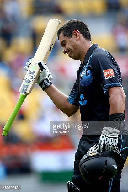 Ross Taylor of New Zealand leaves the field after being dismissed during Game 5 of the men's one day international between New Zealand and India at...