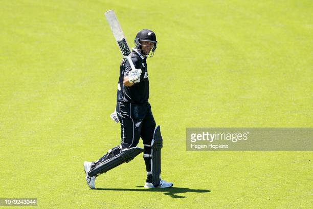Ross Taylor of New Zealand leaves the field after being dismissed for 137 during game three of the One Day International match between New Zealand...
