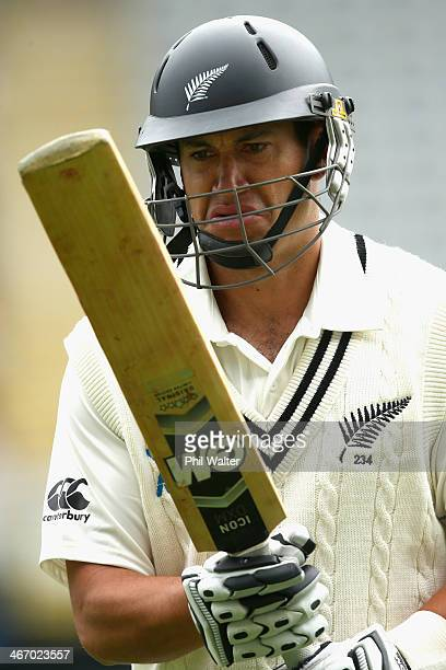 Ross Taylor of New Zealand leaves the field after being dismissed off the bowling of Ishant Sharma of India during day one of the First Test match...
