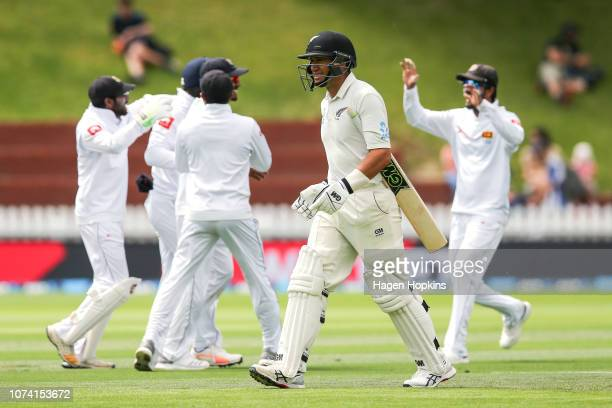 Ross Taylor of New Zealand leaves the field after being dismissed during day three of the First Test match in the series between New Zealand and Sri...
