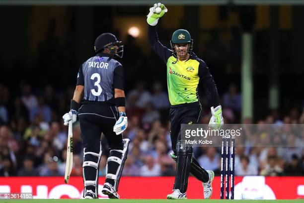 Ross Taylor of New Zealand looks dejected as Alex Carey of Australia celebrates his stumping during game one of the International Twenty20 series...