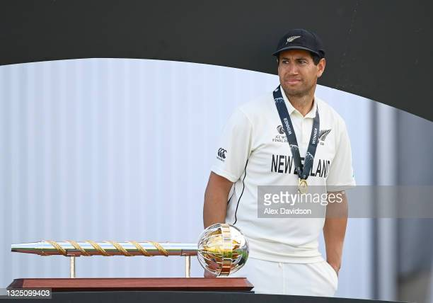 Ross Taylor of New Zealand looks on after victory in the Reserve Day of the ICC World Test Championship Final between India and New Zealand at The...