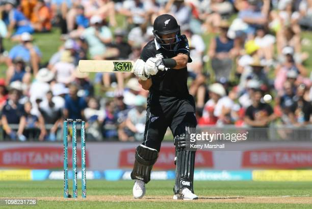 Ross Taylor of New Zealand plays a shot during game one of the One Day International series between New Zealand and India at McLean Park on January...