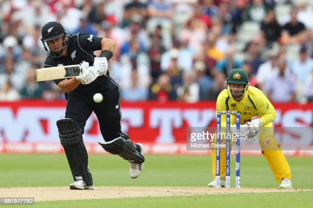Ross Taylor of New Zealand plays to the legside as wicketkeeper Matthew Wade looks on during the ICC Champions Trophy match between Australia and New...