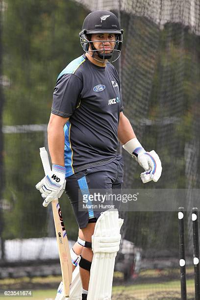 Ross Taylor of New Zealand waits to bat during a New Zealand nets session at Hagley Oval on November 16 2016 in Christchurch New Zealand