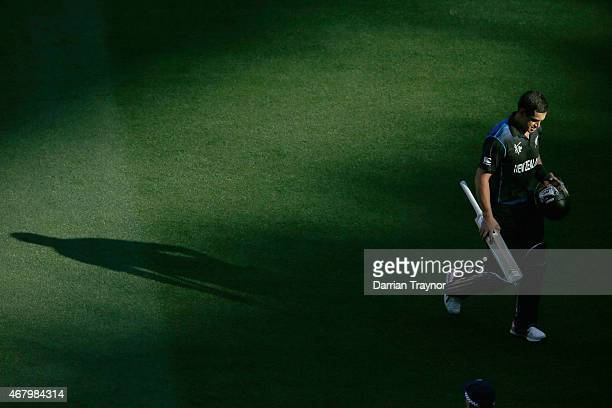 Ross Taylor of New Zealand walks from the ground after being dismissed by James Faulkner of Australia during the 2015 ICC Cricket World Cup final...