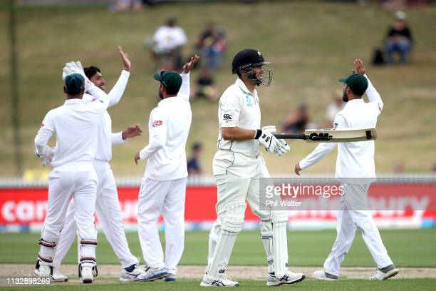 Ross Taylor of New Zealand walks off the field after being dismissed LBW by Soumya Sarkar of Bangladesh during day two of the First Test match in the...