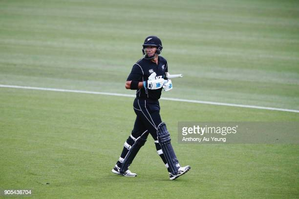 Ross Taylor of New Zealand walks off the field after being dismissed by Rumman Raees of Pakistan during game four of the One Day International Series...