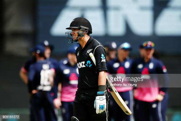 Ross Taylor of New Zealand walks off the field after his run out during game two of the One Day International series between New Zealand and England...