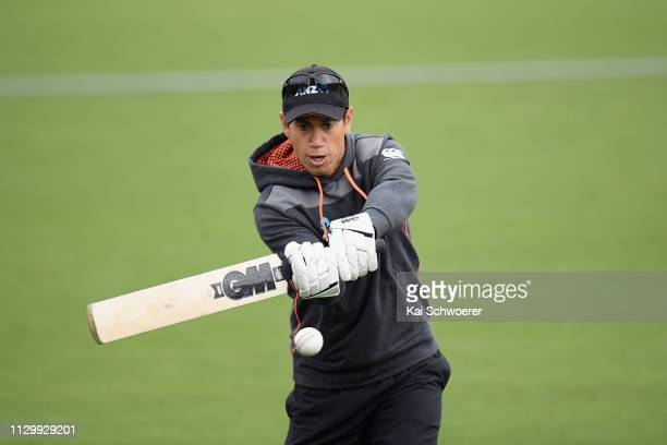 Ross Taylor of New Zealand warms up prior to Game 2 of the One Day International series between New Zealand and Bangladesh at Hagley Oval on February...