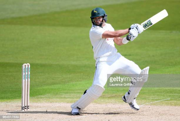 Ross Taylor of Nottinghamshire County Cricket Club hits out during the Specsavers County Championship Division One match between Nottinghamshire and...