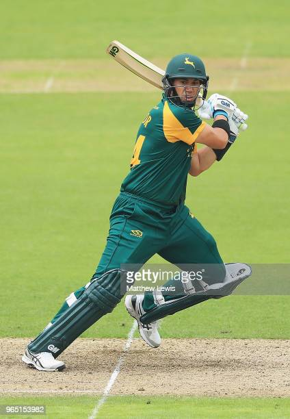 Ross Taylor of Nottinghamshire hits the bal ltowards the boundary during the Royal London OneDay Cup match between Nottinghamshire nad Worcestershire...