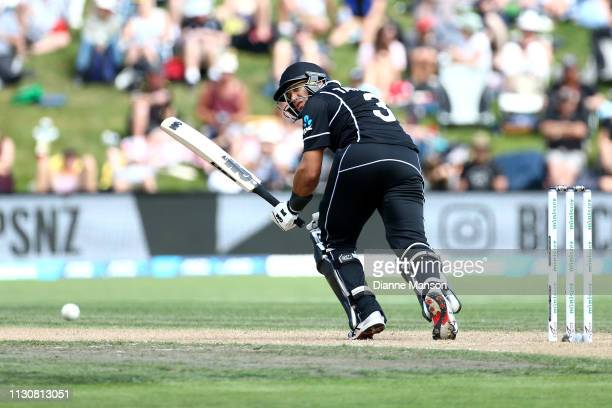 Ross Taylor of the Black Caps bats during Game 3 of the One Day International series between New Zealand and Bangladesh at University Oval on...