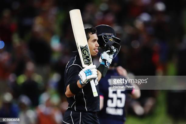Ross Taylor of the Black Caps celebrates after scoring a century during game one in the One Day International series between New Zealand and England...