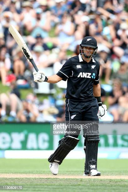 Ross Taylor of the Black Caps celebrates his half century during Game 3 of the One Day International series between New Zealand and Bangladesh at...