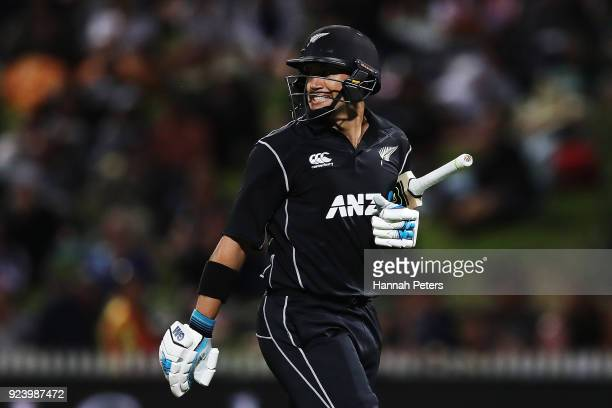 Ross Taylor of the Black Caps is walks off after being bowled by Adil Rashid of England during game one in the One Day International series between...