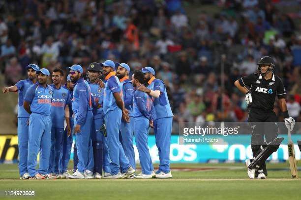 Ross Taylor of the Black Caps looks on as his wicket is reviewed during game two of the One Day International Series between New Zealand and India at...