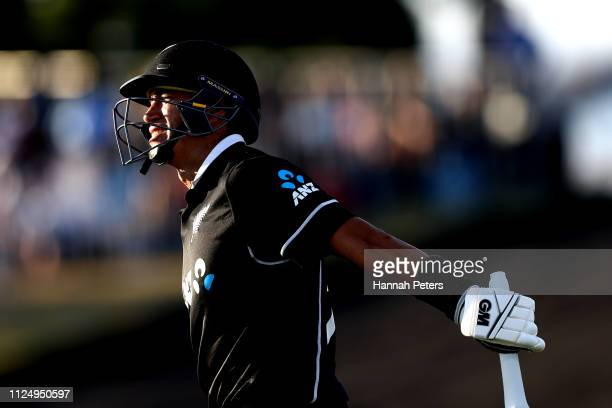 Ross Taylor of the Black Caps walks out to bat during game two of the One Day International Series between New Zealand and India at Bay Oval on...