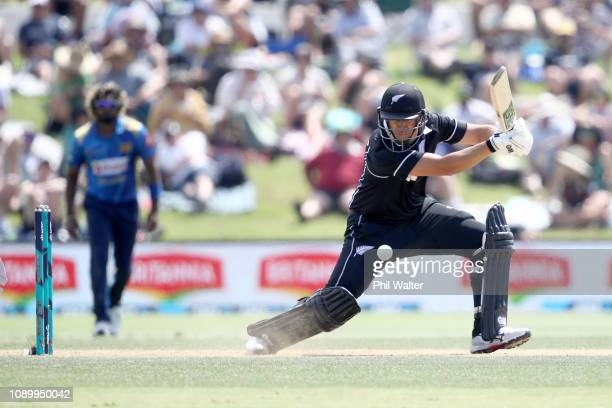 Ross Taylor of the New Zealand Blackcaps bats during game two in the One Day International series between New Zealand and Sri Lanka at Bay Oval on...