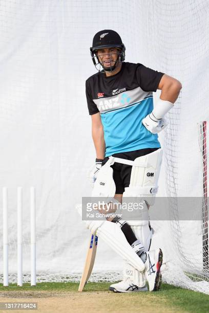 Ross Taylor reacts during a New Zealand Blackcaps training session at the New Zealand Cricket High Performance Centre on May 13, 2021 in Lincoln, New...