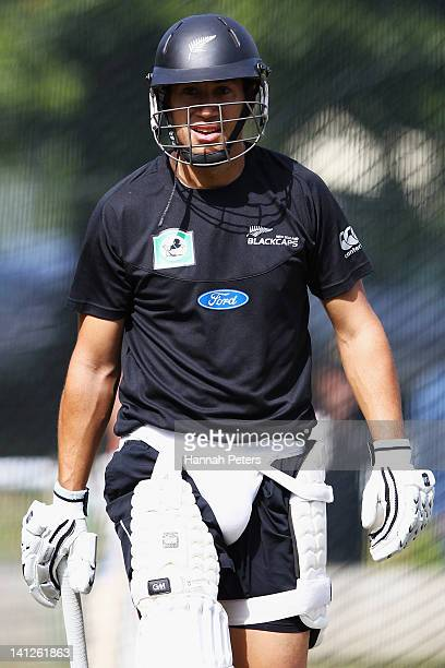 Ross Taylor trains in the nets at Seddon Park on March 14, 2012 in Hamilton, New Zealand.