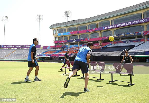 Ross Taylor Trent Boult and Nathan McCullum plays a game of football tennis during a training session at the IS Bindra Stadium on March 21 2016 in...