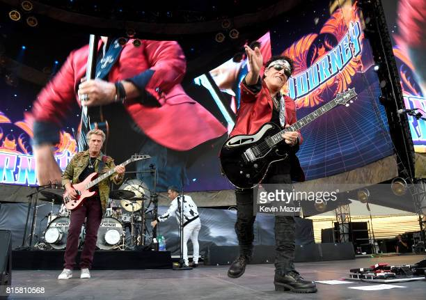 Ross Valory and Neal Schon of Journey perform onstage during The Classic West at Dodger Stadium on July 16 2017 in Los Angeles California