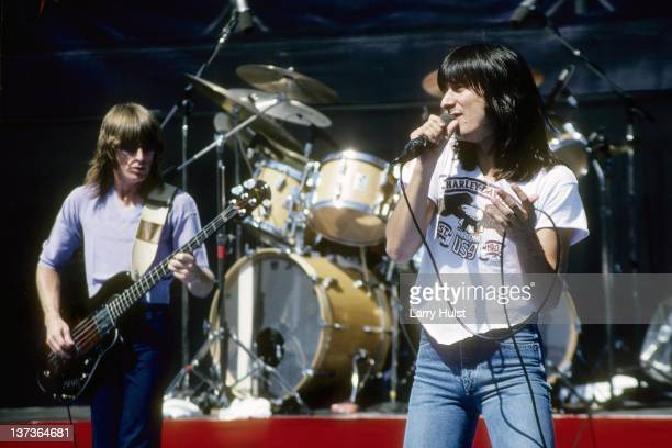 Ross Valory and Steve Perry performing with 'Journey' at the Calaveras County Fairgrounds in Jackson, California on June 14, 1981.