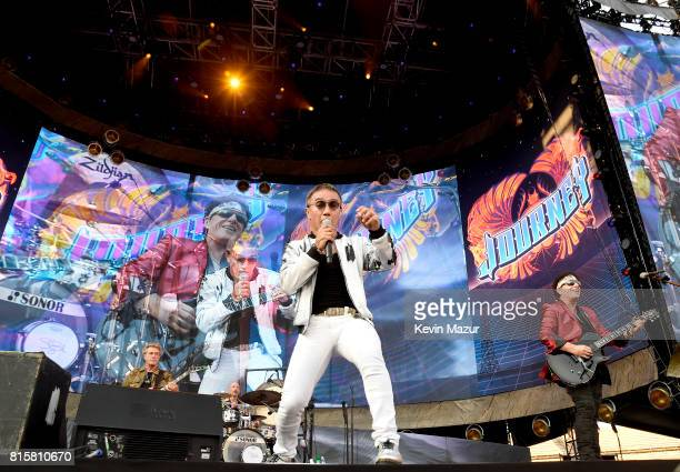 Ross Valory Arnel Pineda and Neal Schon of Journey perform onstage during The Classic West at Dodger Stadium on July 16 2017 in Los Angeles California