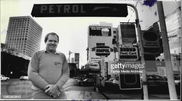 Ross Walden owner of Ampol petrol station at cnr Elizabeth and Albion Streets City July 10 1986