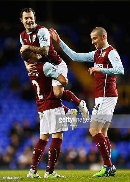 Ross Wallace of Burnley celebrates with team mates Kieran Trippier and David Jones as he scores their second goal during the FA Cup Third Round...