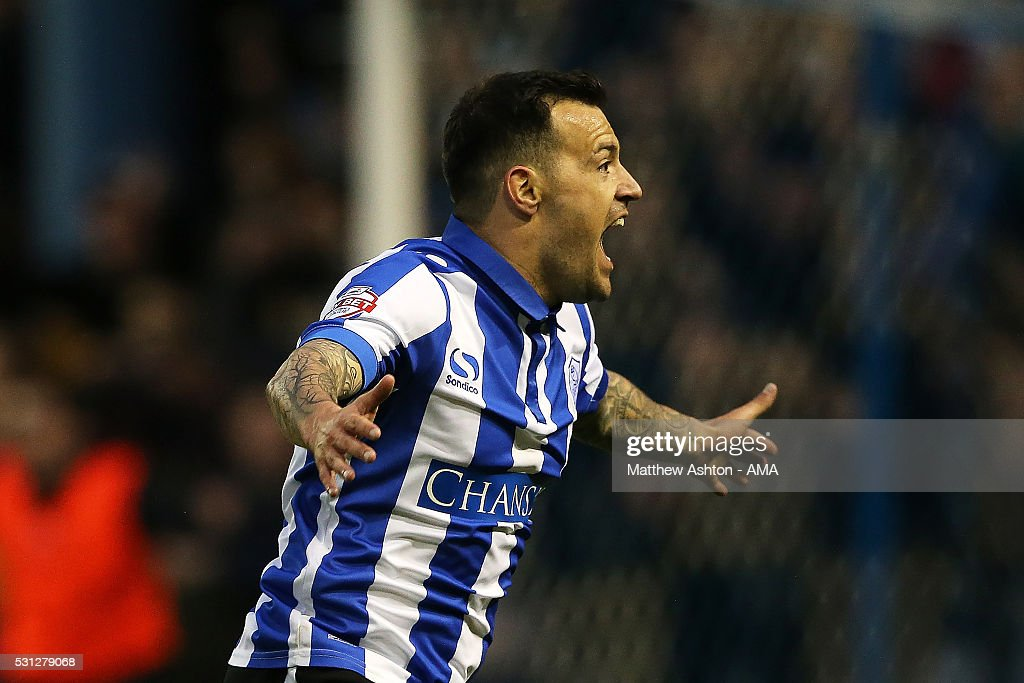 Ross Wallace of Sheffield Wednesday celebrates scoring a goal to make the score 1-0 during the Sky Bet Championship Play Off First Leg match between Sheffield Wednesday and Brighton & Hove Albion at Hillsborough stadium on May 13, 2016 in Sheffield, England.
