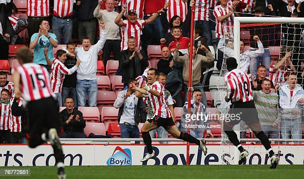 Ross Wallace of Sunderland celebrates his goal during the Barclays Premier League match between Sunderland and Reading at the Stadium of Light on...
