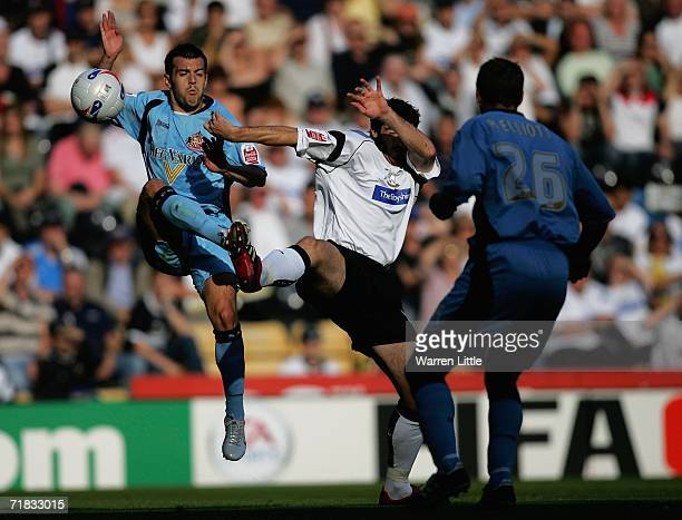 Ross Wallace of Sunderland wins the ball during the CocaCola Championship match between Derby County and Sunderland at Pride Park on September 9 2006...