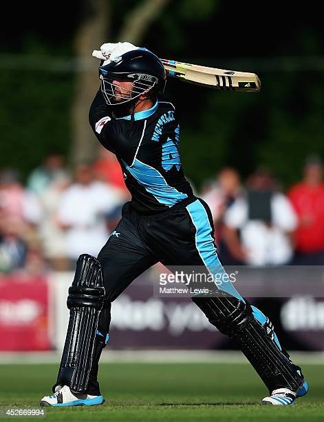 Ross Whiteley of Worcestershire hits a six during the NatWest T20 Blast match between Worcestershire Rapids and Derbyshire Falcons at New Road on...