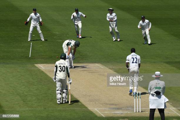 Ross Whiteley of Worcestershire is clean bowled by Jofra Archer of Sussex during the third day of the Specsavers County Championship Division Two...