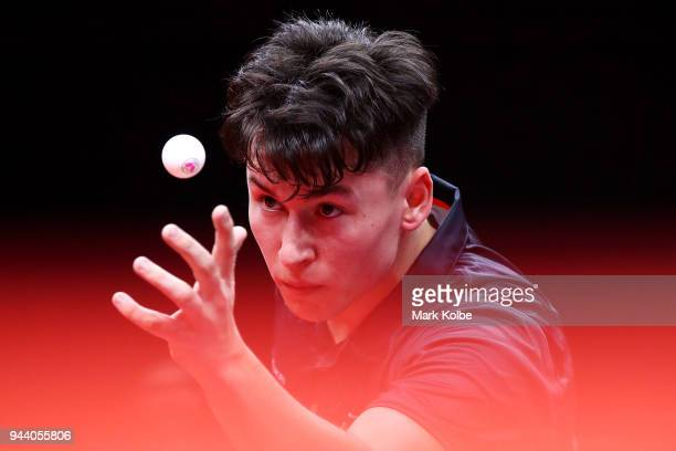 Ross Wilson of England serves as he competes during his Men's TT6-10 Singles Table Tennis match against Barak Mizrachi of Australia on day six of the...