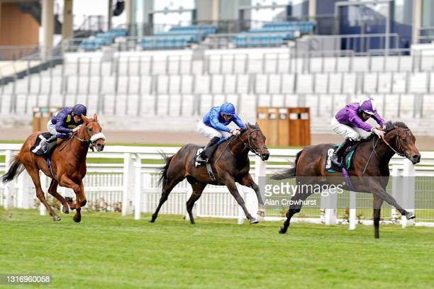 Rossa Ryan riding Go Bears Go win The tote+ Placepots Pay More Novice Stakes at Ascot Racecourse on May 08, 2021 in Ascot, England. Only owners are...