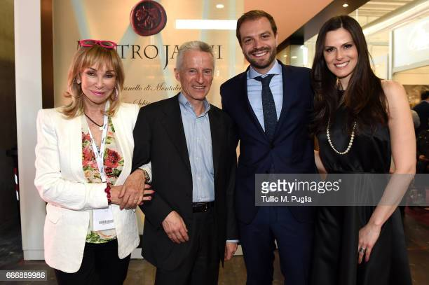 Rossana Bettini Riccardo Illy Paul Baccaglini President of Palermo and Thais Souza Wiggers visit Vinitaly on April 10 2017 in Verona Italy