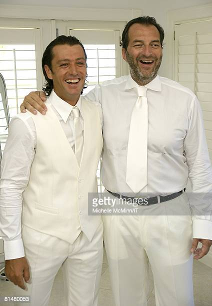 RATES Rossano Rubicondi and best man Silvio Sardi before the wedding of Ivana Trump and Rossano Rubicondi at the MaraLago Club on April 12 2008 in...