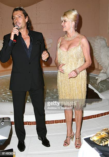 Rossano Rubicondi and Ivana Trump attend the Drinks Dinner and Disco Party the night before their wedding at the MaraLago Club on April 11 2008 in...