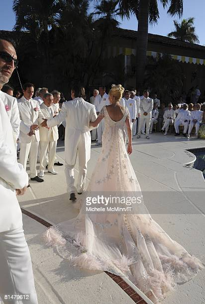 Rossano Rubicondi and Ivana Trump during their wedding at the MaraLago Club on April 12 2008 in Palm Beach Florida Ivana Trump's jewelry is by Leviev...