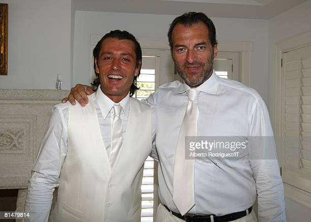 RATES Rossano Rubicondi and Silvio Sardi pose before the wedding of Ivana Trump and Rossano Rubicondi at the MaraLago Club on April 12 2008 in Palm...