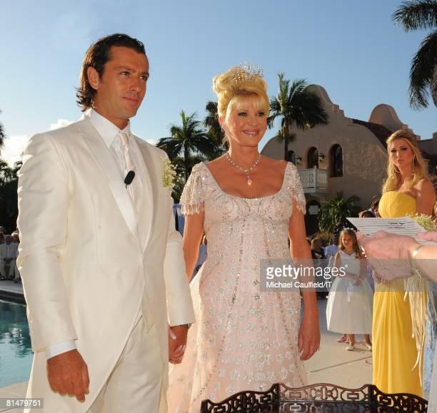 Rossano Rubicondi Ivana Trump and Ivanka Trump during the wedding of Ivana Trump and Rossano Rubicondi at the MaraLago Club on April 12 2008 in Palm...